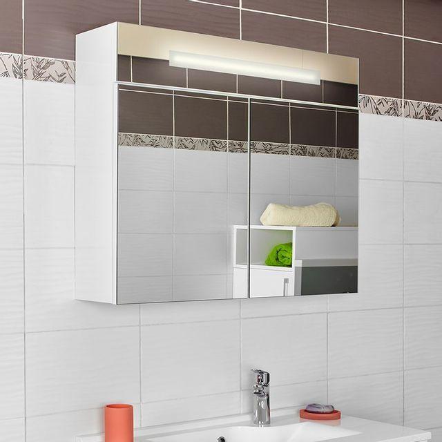 creazur armoire miroir salle de bain lavezzi 80 cm blanc pas cher achat vente meubles de. Black Bedroom Furniture Sets. Home Design Ideas