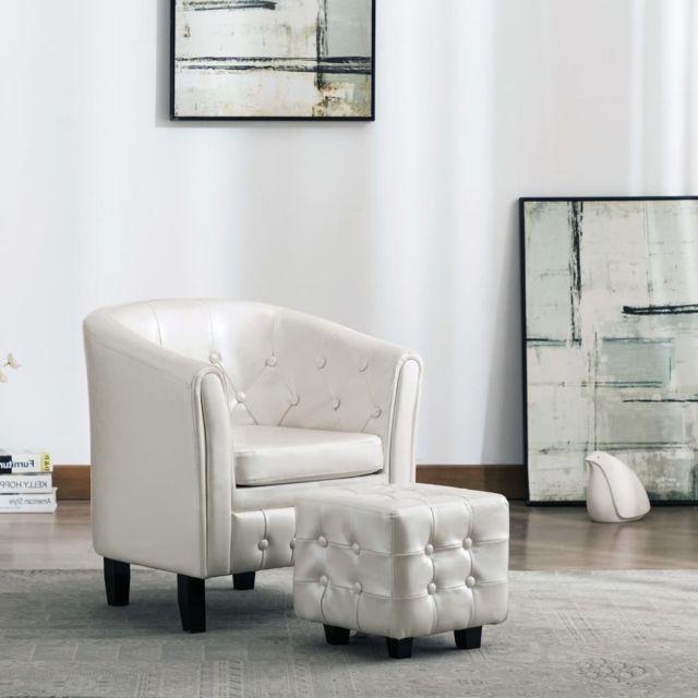 Vidaxl Fauteuil avec Repose-pied Blanc Similicuir Salon Salle de Séjour Maison