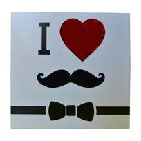 Atmosphera - Cadre imprimé Mystery - 24 x 24 cm I love moustache