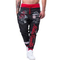 Marque Generique - Jogging homme fashion Jogging 593 gris Rouge