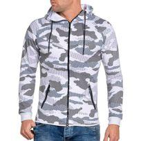 BLZ Jeans - Veste homme blanche camouflage zippée à capuche