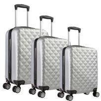 Univers Decor - Lot de 3 valises Valigo Paris Silver 50/60/70 Abs
