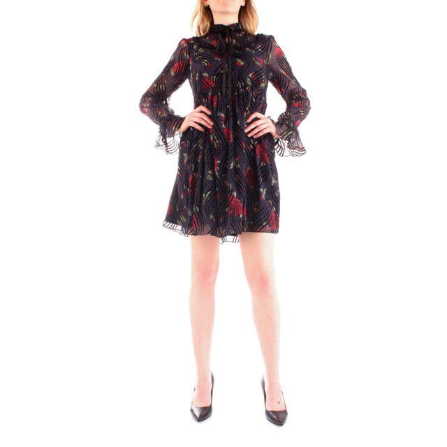 Fracomina Femme Fr19FP037BLACK Noir Polyester Robe