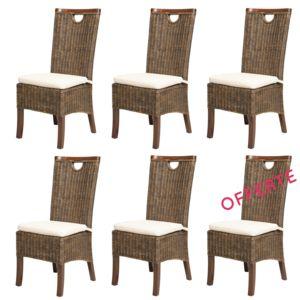 Rotin design soldes 66 lot de 6 chaises en rotin for Soldes chaises rotin