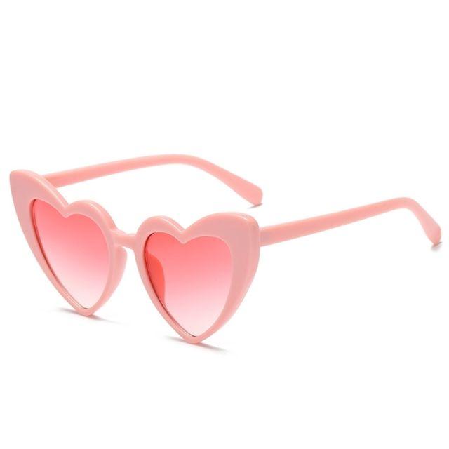 Wewoo - Lunettes de soleil rose pour femmes Lunettes de polarisées en forme  de coeur Uv400 295b58d60701