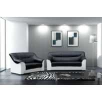 Relax design - Canapé Beata noir/blanc 3 places sofa divan
