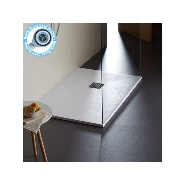 planetebain receveur extra plat poser 80x120 design reflet ardois blanc pas cher achat. Black Bedroom Furniture Sets. Home Design Ideas