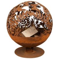 Esschert Design - Brasero métal globe feuille aspect rouillé, pour les soirées d'ambiance Ø 58 cm