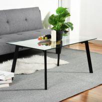 Table Basse Verre Transparent Metal Noir