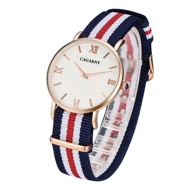 Wewoo - Montre Bracelet en nylon rouge et or rose pour les femmes ultra  mince boîtier 8a20d7c7ca8