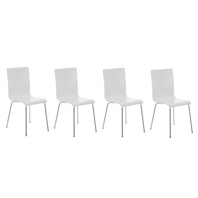 Autre Lot de 4 chaises de cuisine en bois blanc et métal Cds10162