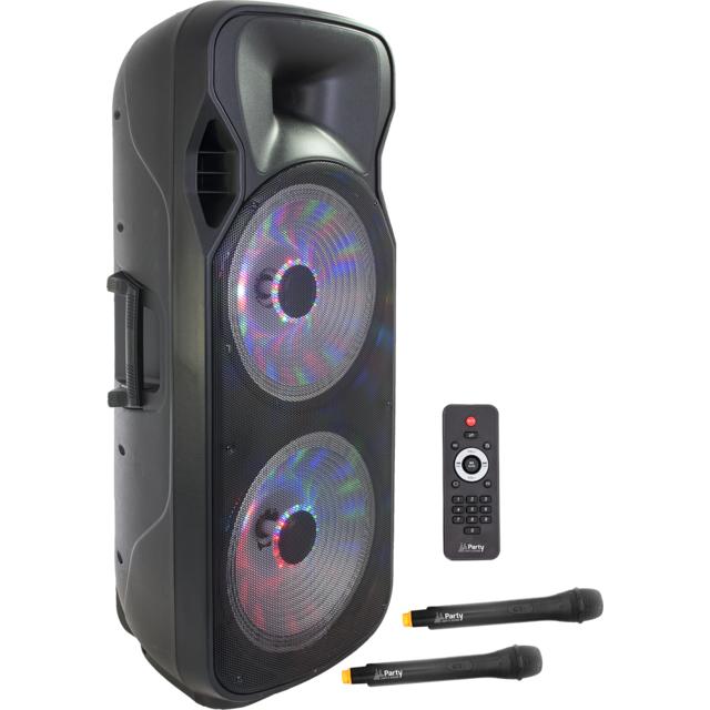 Party Light&sound Party Light & Sound Party-215LED - Enceinte portable 2 X 15p/38CM - 1000W avec usb, bluetooth, fm et 2 micros Uhf