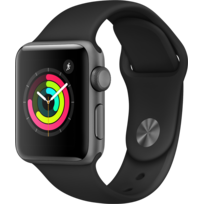 APPLE - Watch 3 38 - Alu noir / Bracelet Sport noir