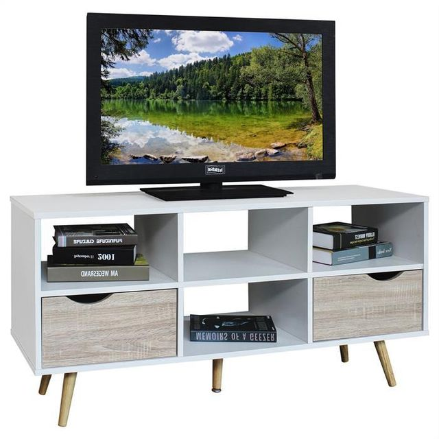 IDIMEX Meuble banc TV design NANTES décor blanc et bois