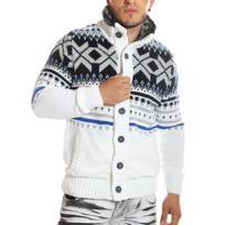 Carisma - Gilet / Veste en laine blanc à motifs
