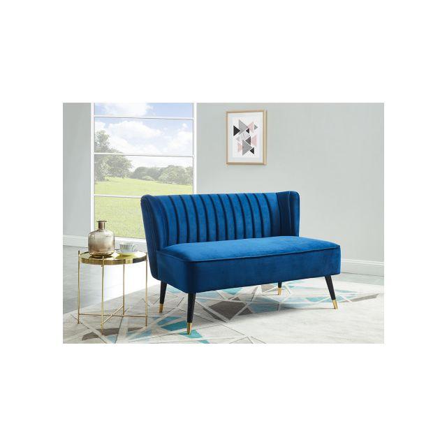 Canapé 2 places en velours PRISO - Bleu nuit
