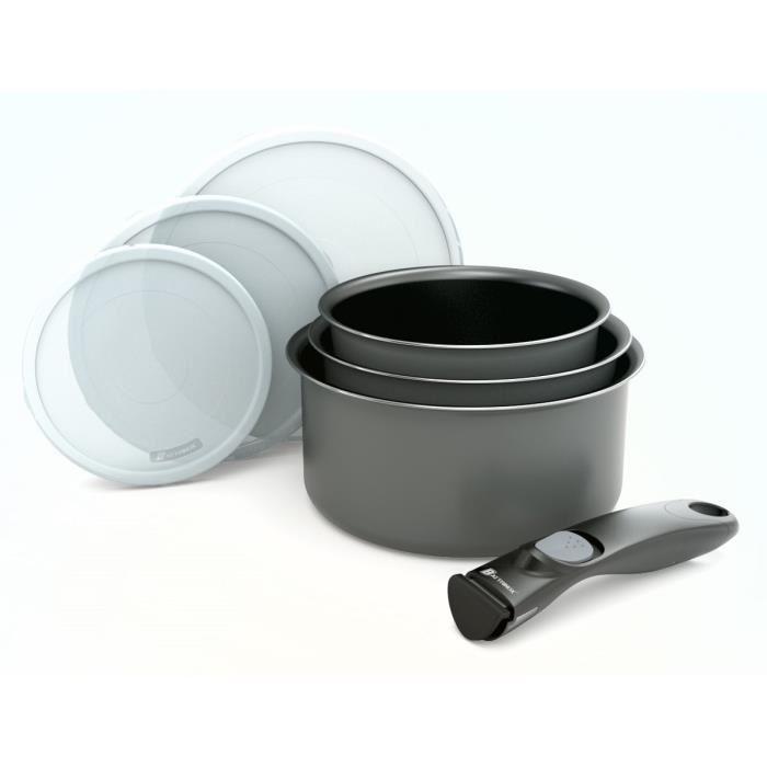 Batterie de cuisine 7 pieces + poignee amovible gris