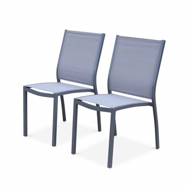 ALICE'S GARDEN Lot de 2 chaises - Orlando Gris / Gris clair - En aluminium blanc et textilène taupe, empilables
