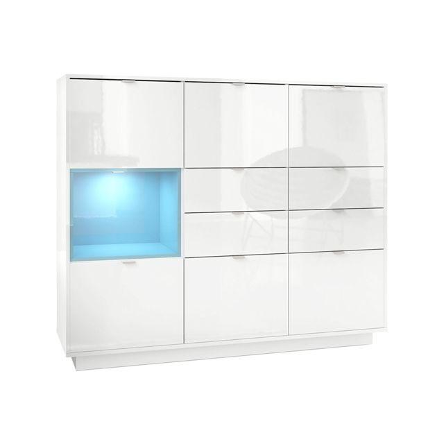 Mpc Buffet design laqu? blanc avec insertion Turquoise