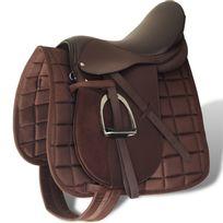 """Vida - Set de selle équitation 17,5"""" en cuir véritable 12 cm 5 en 1 brun"""