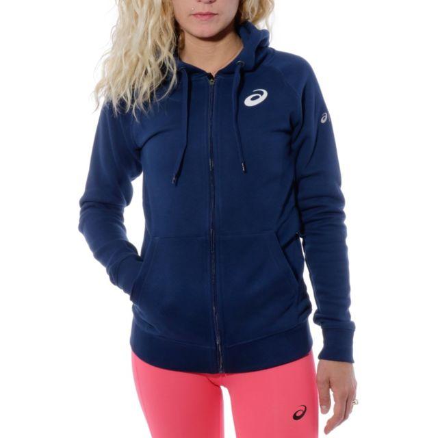 ASICS Marathon Paris Sweat Femme Running Marine Multicouleur Xs
