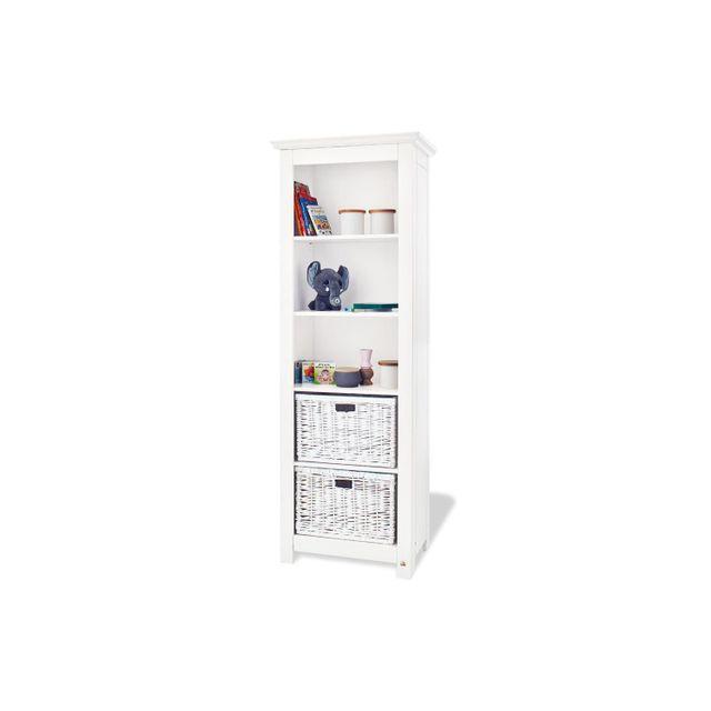 Comforium Bibliothèque design à 4 étagères en bois massif coloris blanc