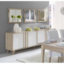 Price Factory - Buffet, enfilade, bahut Gm Malmo + 3 miroirs. Meuble design deac69c96ca3
