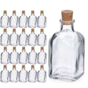 touslescadeaux 20 bouteilles en verres flacons fioles bouchon en li ge 100 ml pas cher. Black Bedroom Furniture Sets. Home Design Ideas