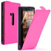 Vcomp - Housse Coque Etui Cuir Pu Vrai pour Nokia Lumia 920 - Rose