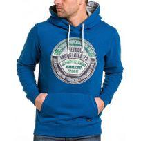 Petrol Industries - Sweat capuche homme bleu royal logo vintage