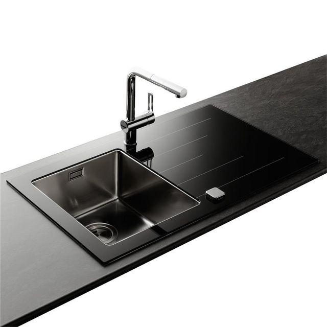 apell vier inox lisse et verre noir isis 1 bac avec gouttoir droite pas cher achat. Black Bedroom Furniture Sets. Home Design Ideas