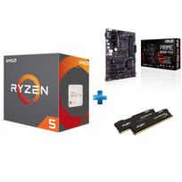 AMD - Processeur Ryzen 5 1600, + Wraith Spire 65W cooler + Carte mère PRIME B350-PLUS Ryzen - Socket AM4 + HyperX Fury 16 Go 2 x 8 Go DDR4 2133 MHz Cas 14