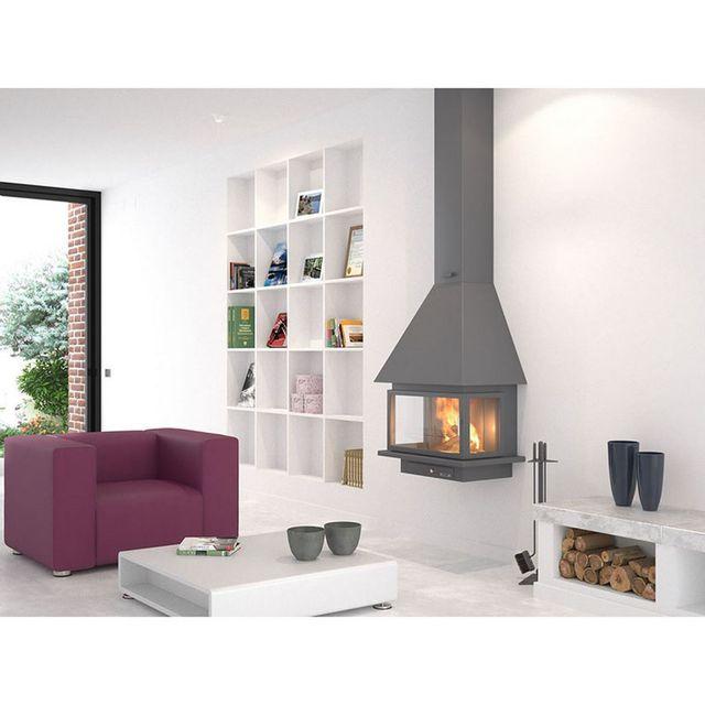 focgrup chemin e ch57 f1 pc anthracite porte suspendue et foyer acier pas cher achat. Black Bedroom Furniture Sets. Home Design Ideas