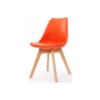 Declikdeco - La couleur chamarée de la Chaise Design Style Scandinave Orange Esben vous permettra d'apporter une note pétillante à votre salon ou à votre bureau. Son assise épousera parfaitement votre dos. Caractéristiques :- Matière : Plastique - piètement en bois