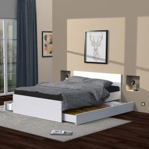 no name oslo lit adulte 2 tiroirs 140x190 cm blanc 140cm x 190cm pas cher achat vente. Black Bedroom Furniture Sets. Home Design Ideas