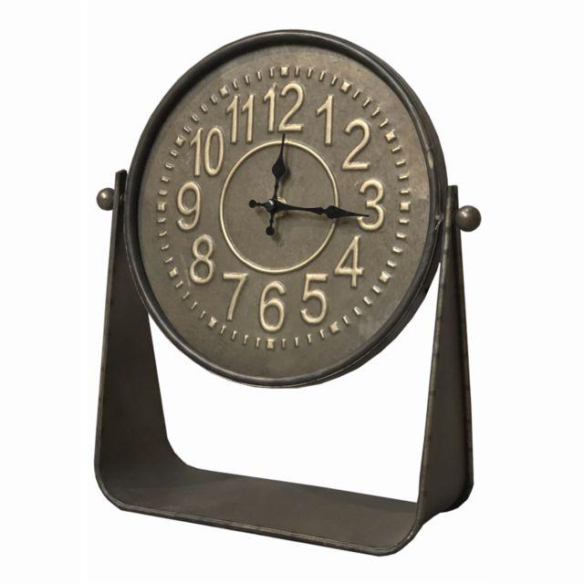 L'ORIGINALE Deco Horloge Ronde Industrielle à Poser Métal Fer 35 cm x 31 cm x 10 cm