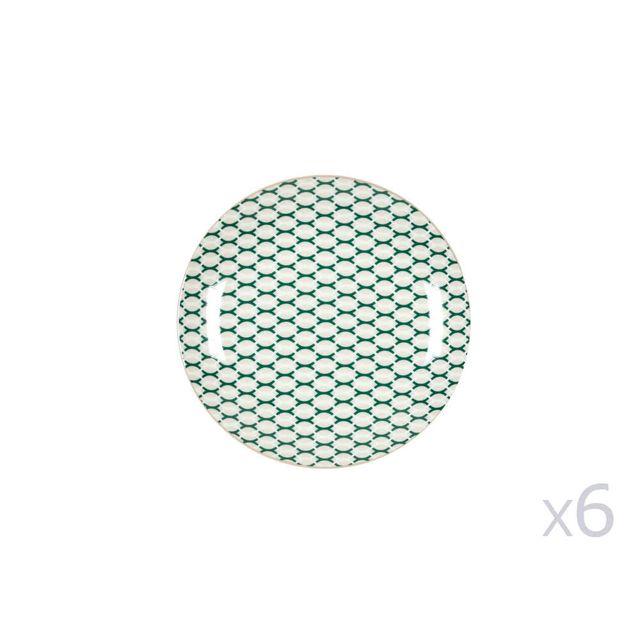 Kaligrafik Assiette à dessert en porcelaine D.20cm motif vague Vert / Blanc - Lot de 6 Wild Nature