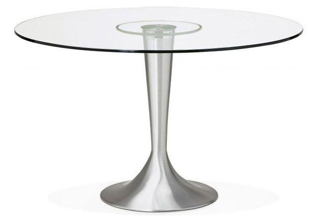 Declikdeco Impressionnez vos amis avec la Table à Manger Ronde Verre Pied Métal D120 Epsom. Capable d'accueillir jusqu'à 6 personne