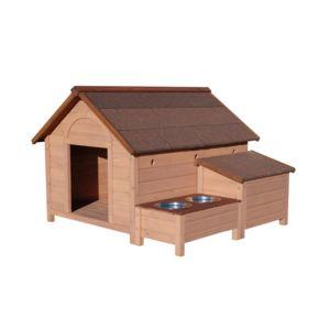 lifland niche sherbrook pour chien en bois avec porte gamelles et coffre de rangement taille l. Black Bedroom Furniture Sets. Home Design Ideas