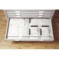 Bisley - armoire a plan format A0 - 5 tiroirs - Socle - noir