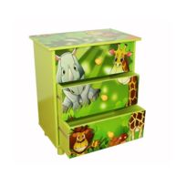 Autre - Commode 3 tiroirs chambre enfant motif jungle 48x57x30cm Ape06021