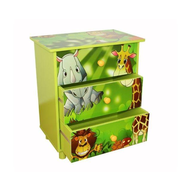 Autre Commode 3 tiroirs chambre enfant motif jungle 48x57x30cm Ape06021