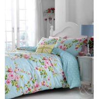 Just Contempo - Parure De Lit Vintage Avec Housse De Couette À ImprimÉ Floral RÉVERSIBLE Bleu Rose Vert, MÉLANGE De Coton, Vin