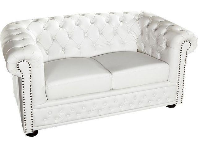 COMFORIUM Canapé moderne 2 places en simili cuir coloris blanc
