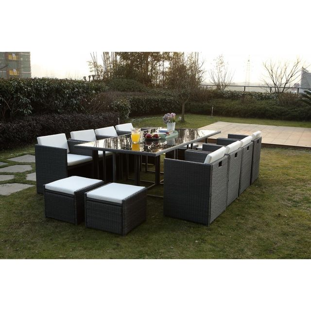 rocambolesk magnifique salon de jardin florida 12 gris blanc salon encastrable 12 personnes. Black Bedroom Furniture Sets. Home Design Ideas