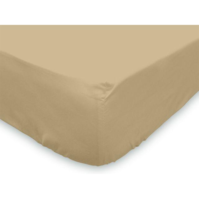 soleil d 39 ocre drap housse en coton 90x190 cm uni beige pas cher achat vente draps housses. Black Bedroom Furniture Sets. Home Design Ideas
