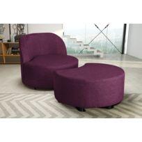 Modern Sofa - Fauteuil + pouf aubergine