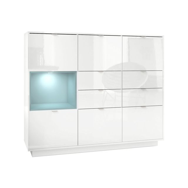 Mpc Buffet design laqu? blanc avec insertion Jade