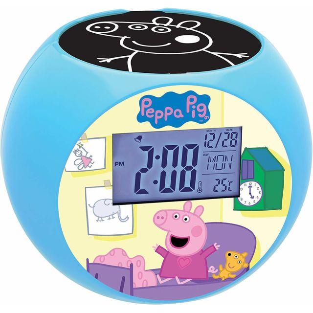 Lexibook Peppa Pig Georges Radio réveil projecteur, effets sonores, à piles, Bleu/Rose, Rl975PP