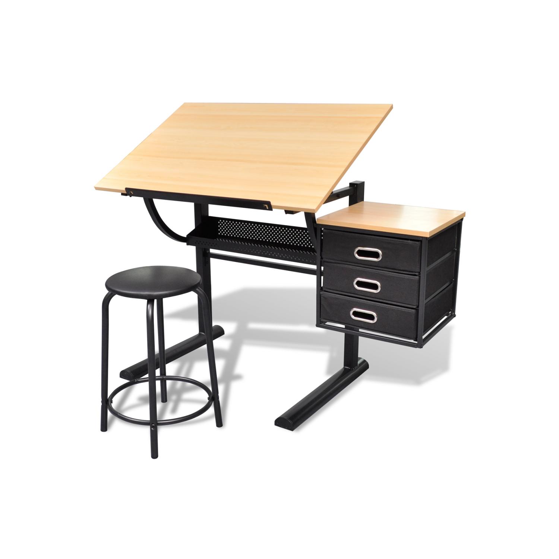 vidaxl table dessin inclinable avec tabouret brun 62cm x 118cm x 106cm pas cher achat. Black Bedroom Furniture Sets. Home Design Ideas